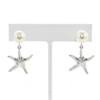 Starfish Pearl Earrings - Antique Silver