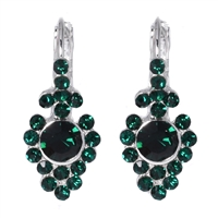 Rhinestone Lever back Earrings - Silver/ Emerald