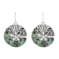 Sand Dollar Abalone Earrings - antq silver/ abalone