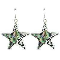 Starfish Abalone Earrings - antq silver/ abalone