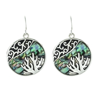 Coral Abalone Earrings - antq silver/ abalone
