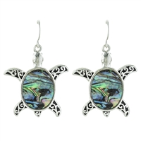 Turtle Abalone Earrings - antq silver/ abalone