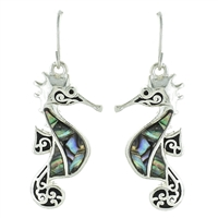 Sea Horse Abalone Earrings - antq silver/ abalone
