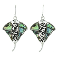 Stingray Abalone Earrings - antq silver/ abalone
