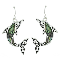 Dolphin Abalone Earrings - antq silver/ abalone