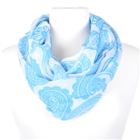 Paisley Print Infinity Scarf - blue