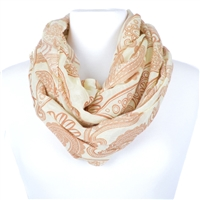 Paisley Print Infinity Scarf - brown