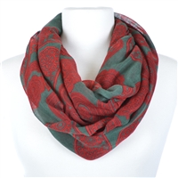 Paisley Print Infinity Scarf - Olive Green