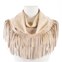 Boho Solid Faux Suede Infinity Scarf - Ivory