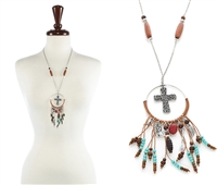 Cross Dream Catcher Necklace - BRN / SB