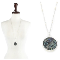 Abalone with Pearl Necklace - abalone / silver