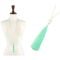 FASHION TASSEL W/PEARL LONG NECKLACE
