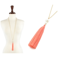 FASHION TASSEL W/PEARL LONG NECKLACE - gold/ coral