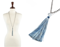 Glass Bead Necklace with Tassel