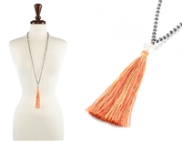 Glass Bead Necklace with Tassel - peridot