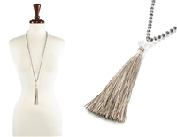 Glass Bead Necklace with Tassel - Taupe
