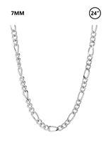 "7 MM Figaro Chain 24"" - rhodium"
