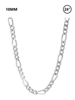 "10 MM Figaro Chain 24"" - rhodium"