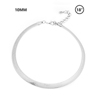 "10mm Omega Chain 18"" Necklace - Rhodium"