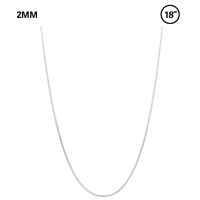 "2 MM Snake Chain 18"" Necklace - Rhodium"