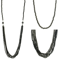 Glass Bead Multi Function Necklace - Black
