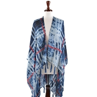 Denim Look Viscose Cape W/ Tassel - Indigo
