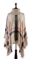 TURTLE NECK PLAID PONCHO - IVORY