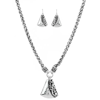 Trapezoid Filigree Necklace and Earring Set - Antique Silver