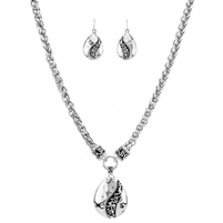 Teardrop Filigree Necklace and Earring Set - Antique Silver