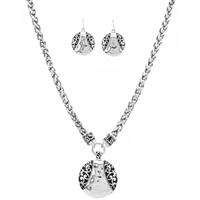 Circle Filigree Necklace and Earring Set - Antique Silver
