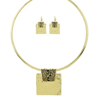 "Texture Pendant 16"" Choker Set - Antique Gold"
