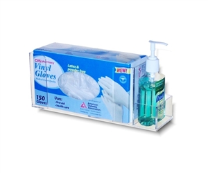 Acrylic Single Glove Box Holder with Hand Sanitizer Pocket
