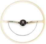 Stock Steering Wheel, Complete, Ivory, 1962-71 Beetle, Super Beetle, Karmann Ghia, and Type 3 , 311-498-651D-IV