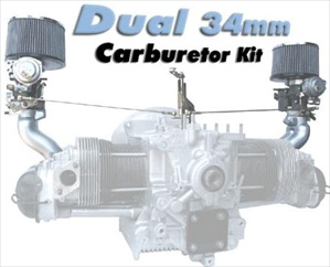 Dual 34mm PDSIT Solex Carb Kit, Dual Port Upright Engines