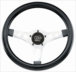 "GT Sport  13"" Steering Wheel, 3 Chrome Spokes Black"