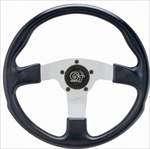 "GT Rally 13 1/2"" Steering Wheel, 3 Silver Spokes w/Black Grip"