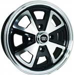 "SSP 2 Liter Alloy, Black and Polished, 4 x 130mm Bolt Pattern, 15 x 5.5"", EACH"