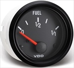 "VDO Fuel Gauge, Cockpit, Black Face, 2 1/16"" (For V226002 Sender)"
