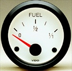 "VDO Fuel Gauge, Cockpit, White Face, 2 1/16"" (For V226002 Sender)"