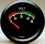 VDO Voltmeter, Cockpit, Black Face, 2 1/16""