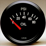 VDO 80psi Oil Pressure Gauge, Cockpit, Black Face, 2 1/16""