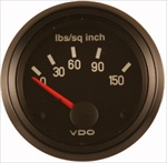 VDO 150psi Oil Pressure Gauge, Cockpit, Black Face, 2 1/16""