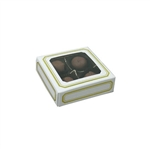 Chocolate Box Covers-3 oz.-1 Layer-Square Window White with Gold Trim