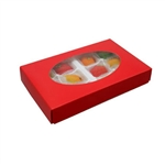 1/2 lb. Box Covers-1 Layer-Oval Window Red