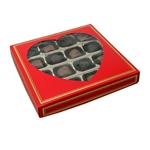 16 oz. Square Red with Heart Windows Candy Boxes