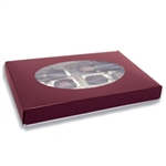 1 lb. Box Covers-1 Layer-Burgundy with Oval Window