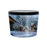 Two Gallon Popcorn Tin Pail - Winter Sleigh