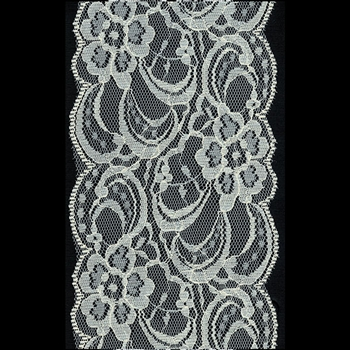 "Offray Layla Lace Trim Ribbon - Ivory - 3-1/2"" x 25 Yards"