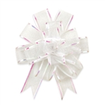 White Sheer Pom Pom Pull Bows Bow Magic