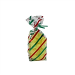 1/4 lb. 2.5 Mil Soft Bottom Cello Bags - Red & Green Stripes